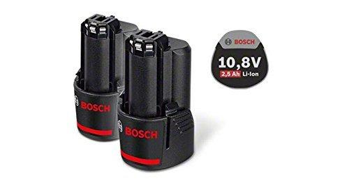 Preisvergleich Produktbild Bosch Professional 12V Akku Starter-Set (2 x GBA 2, 5 Ah, 12 Volt, kompatibel mit 10, 8V) 0615990GM7