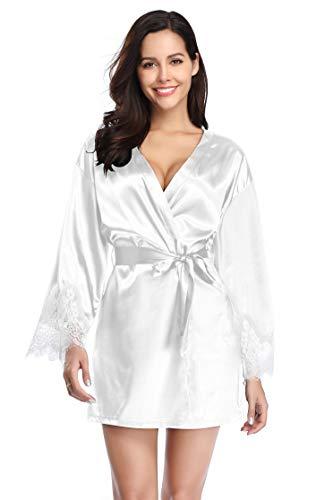 Santou Damen Satin Kimono Robe Langarm Spitzenbesatz Bademäntel Nachtwäsche Nachtwäsche -