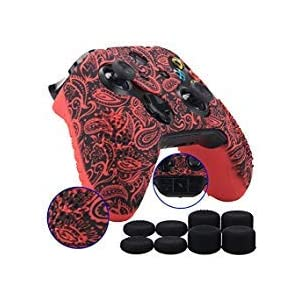 9CDeer 1 Stück von Transferdrucken Silikon Abdeckung Haut Ärmel Fall Cover Skin Hülle 8 Thumb Grips zum Xbox One/S/X Controller Blätter Rot Kompatibel mit Offizieller Stereo Headset Adapter