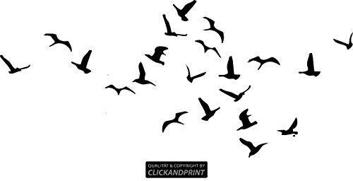 CLICKANDPRINT Aufkleber » Vogelschwarm, 30x13,4cm, Schwarz • Wandtattoo / Wandaufkleber / Wandsticker / Wanddeko / Vinyl