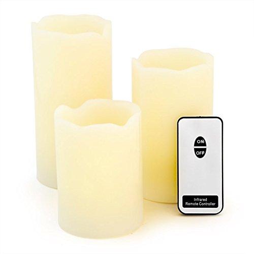 3er Set LED Echtwachskerzen mit Fernbedienung - schönes gelbes, flackerndes LED Kerzen Licht - im Geschenkkarton