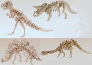 Maquette Puzzle 3D en Bois Naturel Dinosaure Lot X4