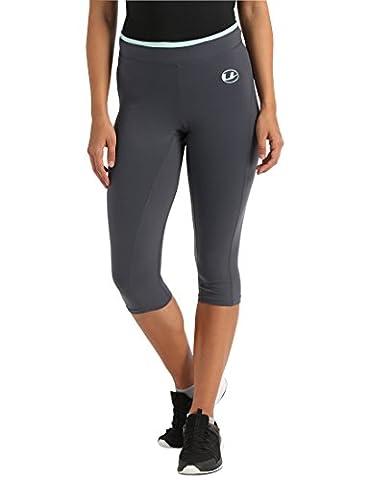 Ultrasport Women's Antibacterial Capri Pants with Quick-Dry Function - Grey/Mint, Medium