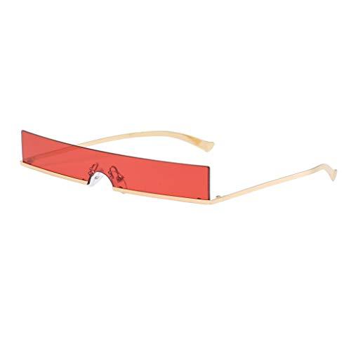 IPOTCH Rahmenlose Sonnenbrille Unisex Quadratische Shades Brille - Rot