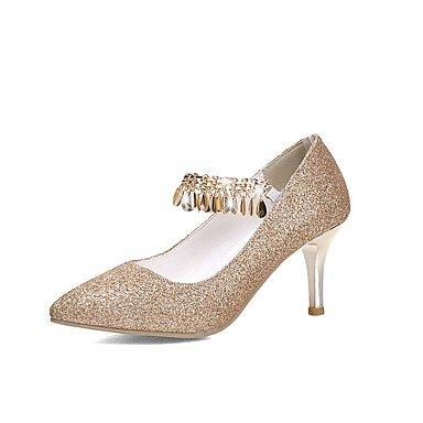 LFNLYX Frauen Fersen Frühling Sommer Herbst Winter Club Schuhe Komfort Glitzer Hochzeitsfeier & Abendkleid Stiletto Ferse Gore Chain TasselRed Gold Gold