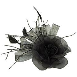 GIZZY®-Negro Flor Tocado de Red con Trabillas y de Plumas de Pelo Clip.