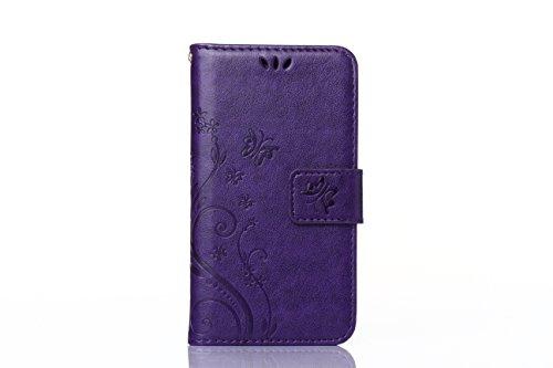 iPhone 6 Plus 6S Plus 5.5 Zoll Leder-Hülle im Bookstyle Folio, Sunroyal Kunst-Leder-Tasche Schutzhülle Case Flip Cover Etui dünn und weich mit Fach für Geldscheine und Kartenfach, Aufstellfunktion + D Lila