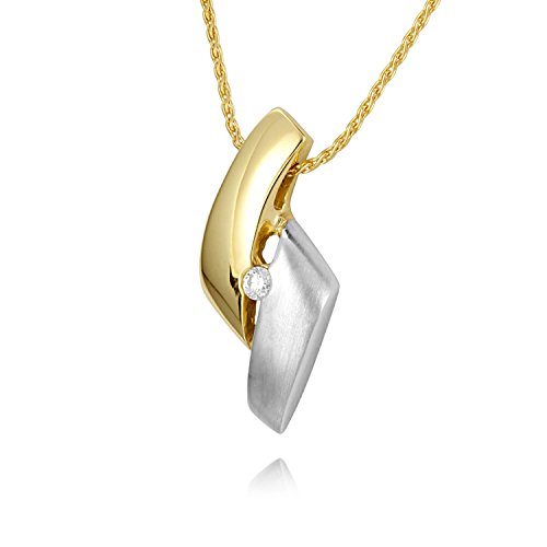 Diamond Line Damen - Halskette 375er Gold 1 Diamant ca. 0,03 ct, gelbgold