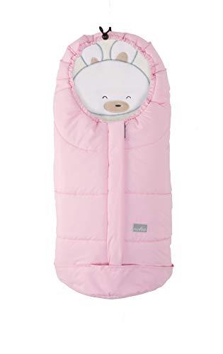 Nuvita 9205 Ovetto Cuccioli - Sacco Termico Universale Per Tutti i Tipi di Ovetto, Navicelle e Seggiolini Auto. Ideale per neonati, bimbi e bambini (Pink Rabbit - Beige)