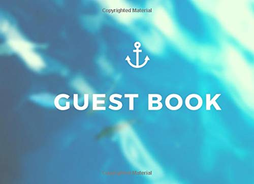 Paperback Blue White Nautical Theme Guestbook for Any Occasion - Birthday, Bridal or Baby Shower, Wedding, Anniversary Party, ... Retirement, Funeral Or Memorial Service ()