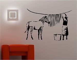 Online Design Banksy Style Zebra Washing Wall Art Sticker Vinyl Quote  Graffiti Lounge Kitchen   Black Part 88