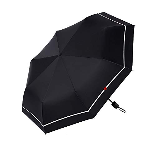 LYJZH Mini Schirm: Mini-Regenschirm mit Transporthülle, extraleicht & superkompakt Schwarzer Kunststoff Sonnenschutz Anti-UV-Taschenschirm Farbe1 98cm