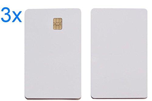 smartec24® 3x SLE4442 Kontakt Chip ID Kartenrohling. Fertigung in DIN Norm und bedruckbar (Smart Chip-lesegerät)