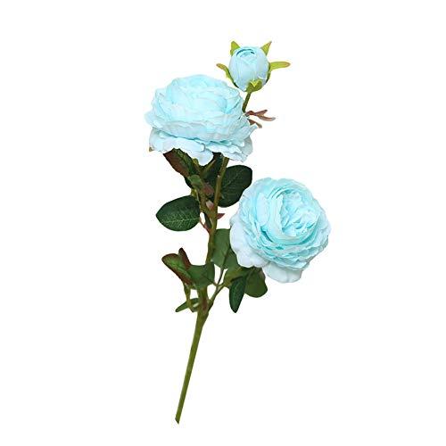 Beiguoxia réaliste Superbe artificielle Pivoine 1pièce 3 têtes artificielle Faux Pivoine Fleur fête de mariage Home Office Décoration - Blanc + Rose bleu