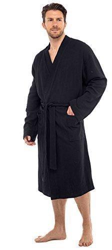 Preisvergleich Produktbild Herren 100% Baumwolle Robe Bademantel, weich Waffel Robe gewickelt Hausanzug - Schwarz, XXX-Large