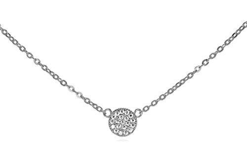 GlitterLounge Tiny 925Sterling Silber CZ Ebnen Disk Halskette Verstellbare Kette 16-18Geschenk Box (Halskette Kreis Seitwärts)