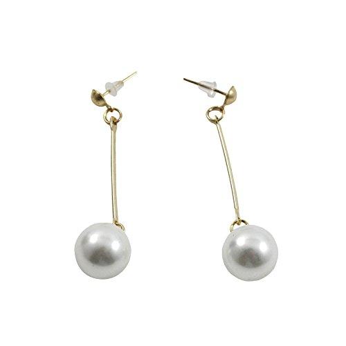 VANKER 1 par elegante diseño redondo de la perla de la gota cuelga los pendientes de las mujeres del oído chapado en oro Clavos