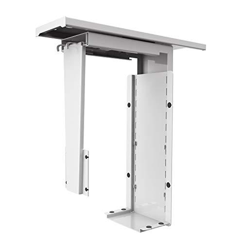 AIMEZO CPU unter Tisch Computer Tower Halter höhenverstellbar und an der Wand montierbar (Weiß)
