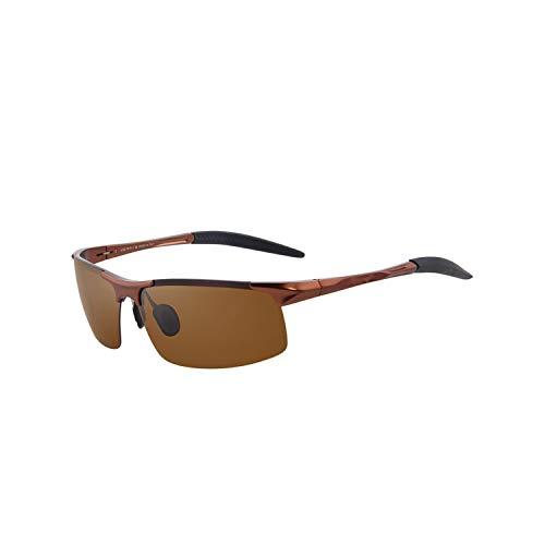 FGRYGF-eyewear Sport-Sonnenbrillen, Vintage Sonnenbrillen, Men Polarized Sunglasses Aviation Aluminum Magnesium Sun Glasses For Fishing Driving Rectangle Rimless Shades S8277 C07 Brown