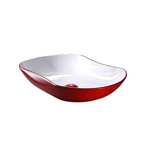 Lavandino, ceramica, curva rossa geometria creativa bagno sopra contro lavello (colore : red and white)