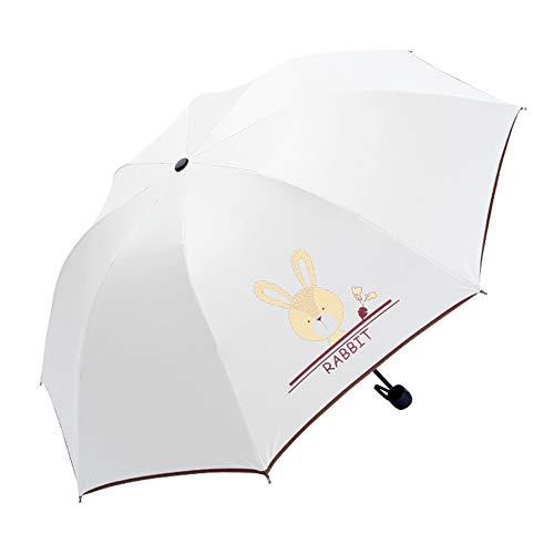 Weimay. Umbrella Folding Black Rubber Stoff Anti UV und Wind für Outdoor-Aktivitäten, niedlichen Cartoon Regenschirm tragbare Licht Sonne und Regen Regenschirm für (der Hase)