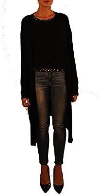 Hope1967 - Twin Set de Mujer Korea formado por chaqueta de punto y top de tirantes con aplicaciones estampadas, color negro