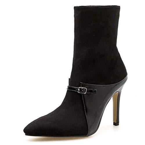 LIANGXIE Ladies Women MID Heel Biker Boots/Fashion Slim Calf Boots 2018 Winter New Short Boots...