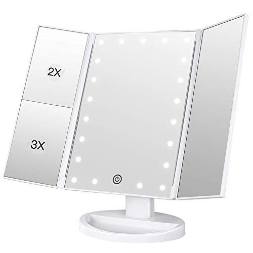 LoveSelfy Espejo Maquillaje Triptico con Luz, 24 LED Cosmético Espejo de Mesa con 10x 3X 2X Vanity Lupa Rotación de 180 Grado Touch-Screen Ajustable Brillo para Viajes Afeitado Regalos - Weiß