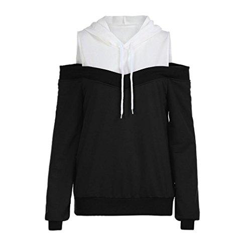 SEWORLD 2018 Damen Mode Sommer Herbst Damen Schulterfrei Langarm Hoodie Sweatshirt mit Kapuze Pullover Tops Bluse(Schwarz,EU-44/CN-XL)