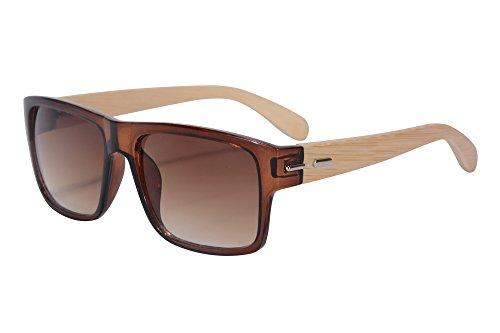 SHINU Gafas de Sol Gafas de Sol de los hombres Gafas de Sol Marco de Bambú Gafas de Sol de Moda Modelo SH71012 (brown, gradient brown)