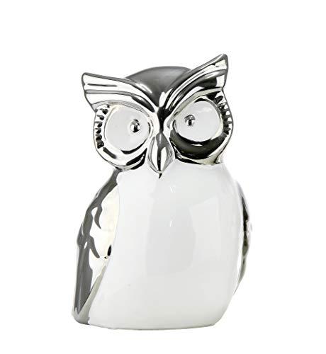 ur Dekofigur Eule aus Keramik weiß und Silber Höhe 14 cm Breite 11 cm ()