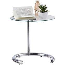 Relaxdays Kaffeetisch höhenverstellbar bis 70 cm, runder Wohnzimmertisch, verchromter Stahl, Glasplatte 46 cm Ø, Silber