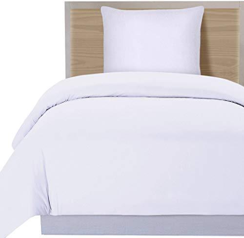 Utopia Bedding Bettwäsche-Set - Mikrofaser Bettbezug und Kissenbezug - (135 x 200 cm, Weiß) - Weiße Bettwäsche