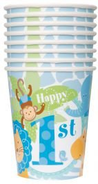 wiederverwendbaren vogueland Kunststoff 16 Oz Party Favor Kinder Thema 1st Birthday Cups BPA Safe Blue Safari 1st Birthday