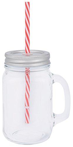 Esschert Design c2037 Tasse en verre avec paille