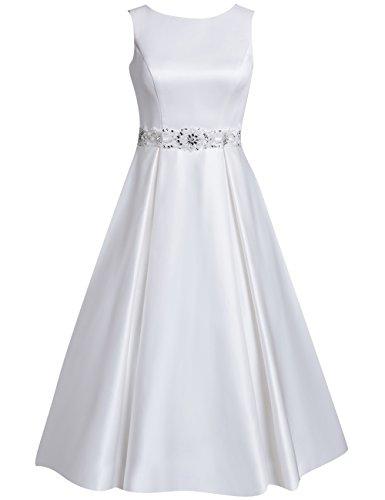 HUINI Brautkleider Kurz A-Linie Satin Hochzeitskleider Standesamt Kleider Damen U-Boot Ärmellos Applikationen Perlen Size 46