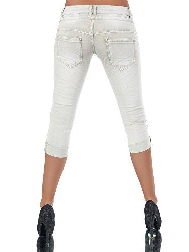 N123 Damen 3 4 Capri Jeans Hose Shorts Damenjeans Hüftjeans Caprijeans  Boyfriend Beige 878bf822b1