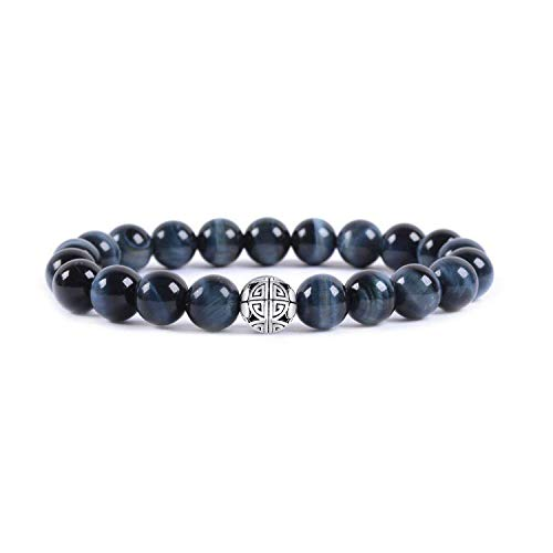 Natürliche 8 mm Edelsteine MetJakt Heilung Crystal Stretch Perlen Armband Armreif mit 925 Sterling Silber Double Happiness Anhänger (Blue Tiger Eye)