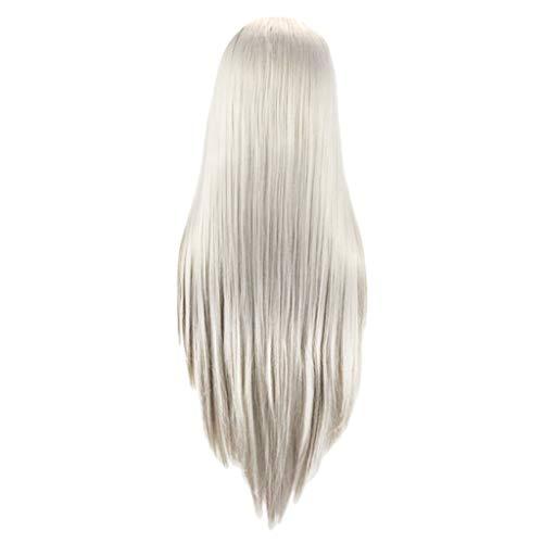 Frauen Perücke weiß lange gerade Kunsthaar volle Perücken Natürliche Haar Perücke