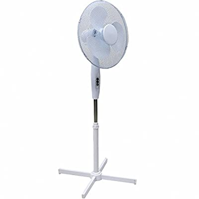 Squizzas! H-28401 Electrical 16-Inch Oscillating Pedestal Stand Fan, White