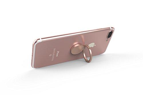 Kronya® | 360° drehbarer Smartphone Fingerhalter | Auto Finger Fitness Griff Halter Halterung Handy Ring Ringhalter Sport Ständer Tablet Apple iPhone iPad 7 8 10 X Samsung Galaxy S8 4 (Roségold) - 2