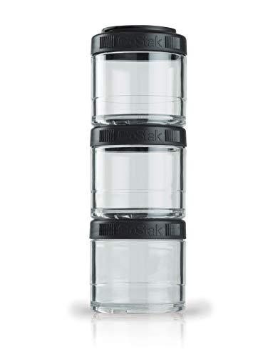 BlenderBottle GoStak Behälter zum Aufbewahren von Protein, Eiweiß, Pulver, Vitaminen & mehr- 4Pak 40ml (4x40ml) - schwarz -