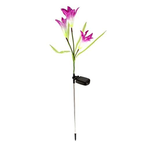 XKJFZ Stake Sonnenblumenfarben-LED Wechselnde Lichter Solarlampe Gartenblumen Patio Hinterhof Dekoration Lila Lilien-Blumen-1 Stück
