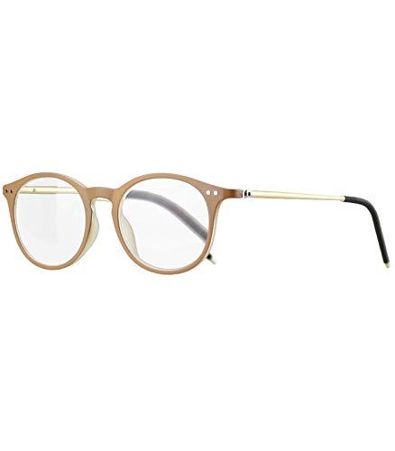 Caripe Herren Damen Lesebrille rund Retro Nerd Vintage Lesehilfe + Brillen-Etui- M2127 (+ 2,0 dpt - beige)