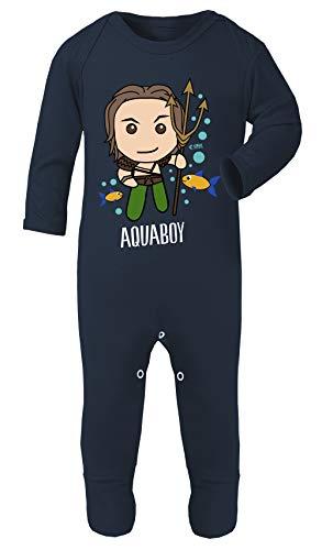 Kostüm 12 Großbritannien Monat 9 - Colour Fashion Superhelden-Kostüm mit Aquaman-Aufdruck, 100% Baumwolle, hypoallergen Gr. 6-12 Monate, Navy