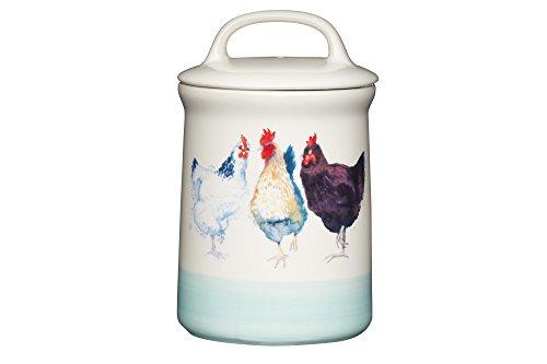 Kitchen Craft Apple Farm Handgefertigter,luftdichte Vorratsdose Hazel Hen, Keramik, Creme/Grün, 10.5 x 10.5 x 17.5 cm
