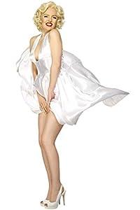 Smiffys-27428M Licenciado Oficialmente Disfraz Classic de Marilyn Monroe, con Vestido sin Espalda, Color Blanco, M - EU Tamaño 40-42 (SM27428-M-ALT)