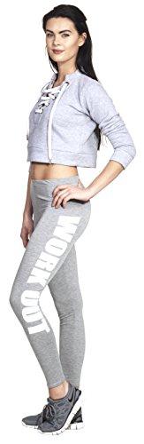 WORKOUT Leggings Yoga Pant Pants Legings Training Sport Hose Modell 2016 Statment Print Aufdruck Squat Fitness Sport Hellgrau / Weiß