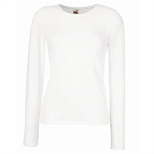 Fruit of the Loom Femme-Fit Crew Neck T-shirt manches longues Blanc