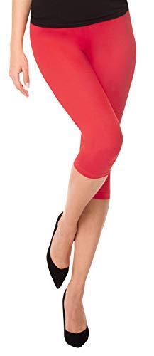 BeComfy Damen Leggings 3/4 Capri aus Baumwolle Viele Größen&Farben Blickdichte Leggins Rot Schwarz Graphit Grau Weiß Blau Rosa Beige (42 - XL, Koral) Blaue Capri Leggings